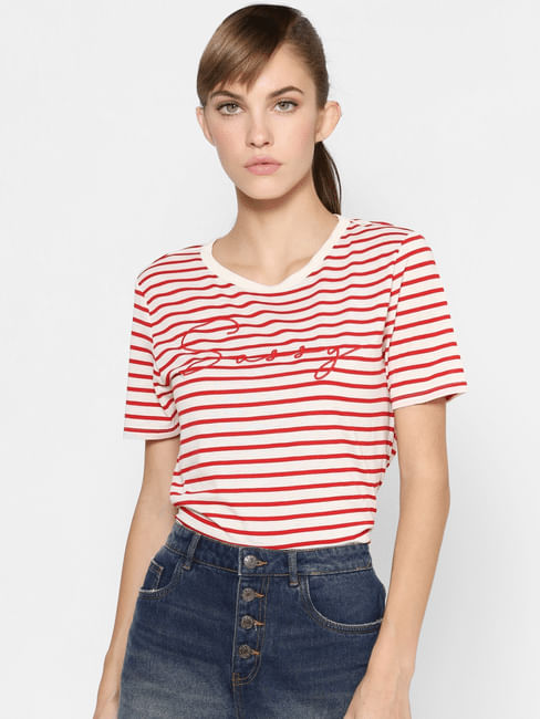 Red Striped Embroidery Text Print T-shirt