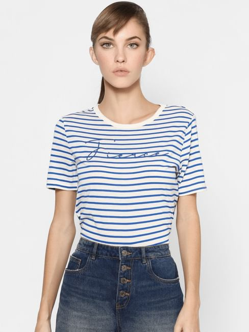 Blue Striped Embroidery Text Print T-shirt