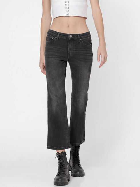 Black Mid Rise Washed Flared Jeans