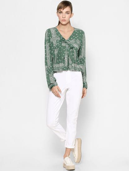 Green Paisley Print Front Twist Top