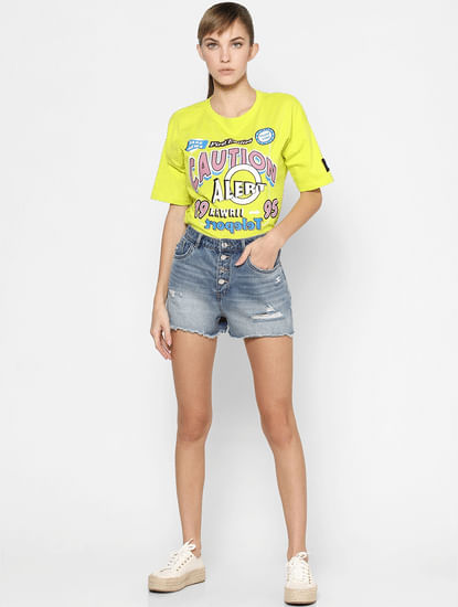 Yellow Graphic Placement Print T-shirt