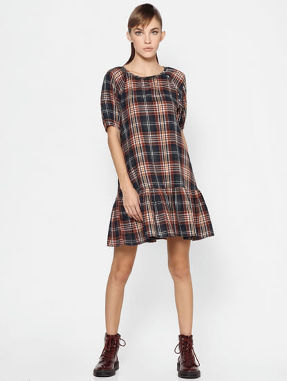 Blue Check Tiered Hem Shift Dress