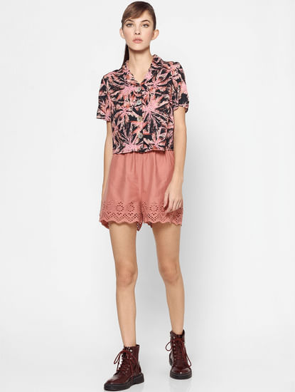 Pink Tropical Palm Printed Shirt