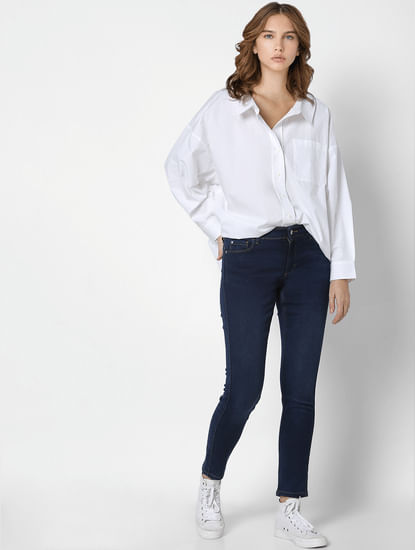 White Drop Shoulder Shirt