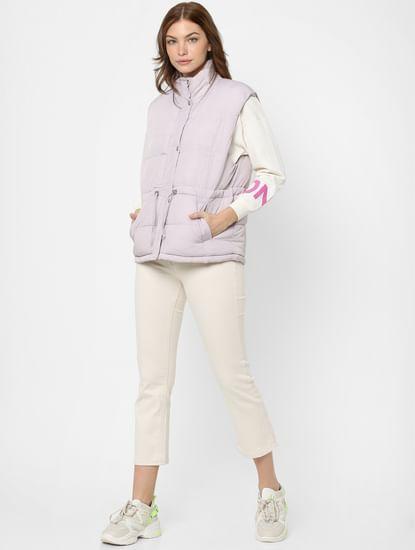 Light Purple Sleeveless Puffer Jacket