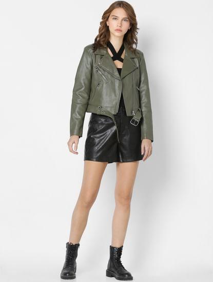 Green Faux Leather Biker Jacket