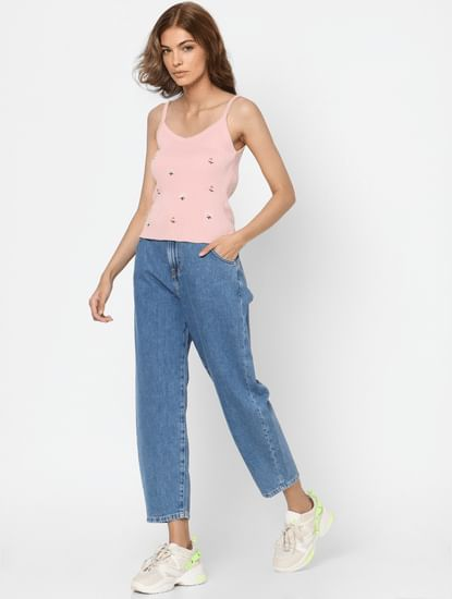 Blue High Rise Slouchy Fit Jeans