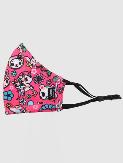 White & Pink Graphic Print Mask - Pack of 2