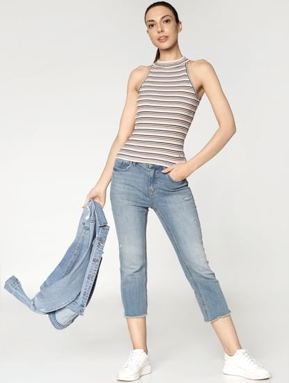 Blue Mid Rise Sweet Flare Jeans
