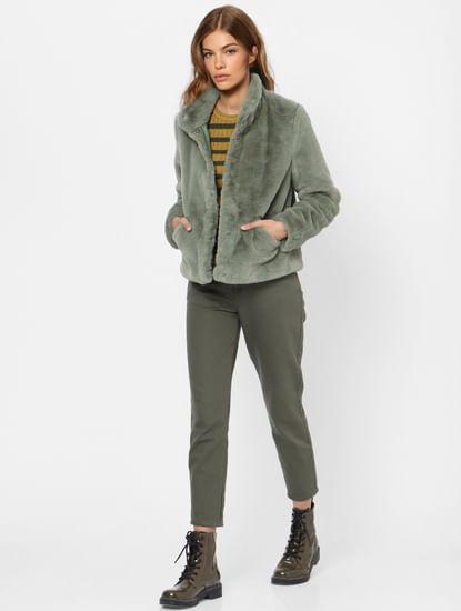 Green Faux Fur Winter Jacket