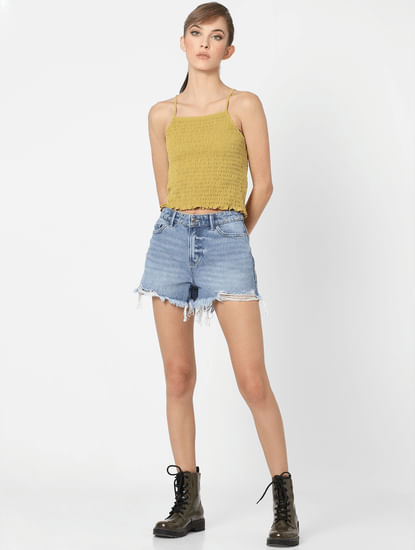 Yellow Smocked Strappy Top