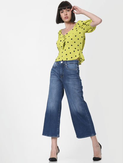 Blue High Rise Wide Leg Jeans