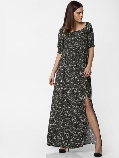 Green Floral Print Smock Dress