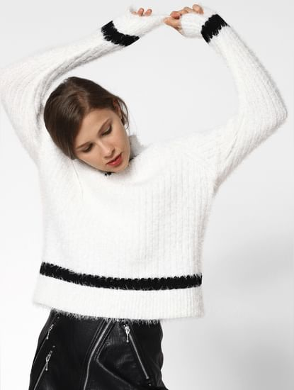 White Contrast Tape Detail Pullover