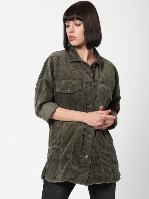 Green Long Corduroy Shirt