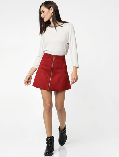 Cream Contrast Neck Tipping Top