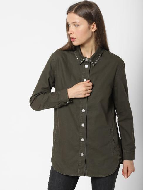 Dark Green Stud Detail Shirt