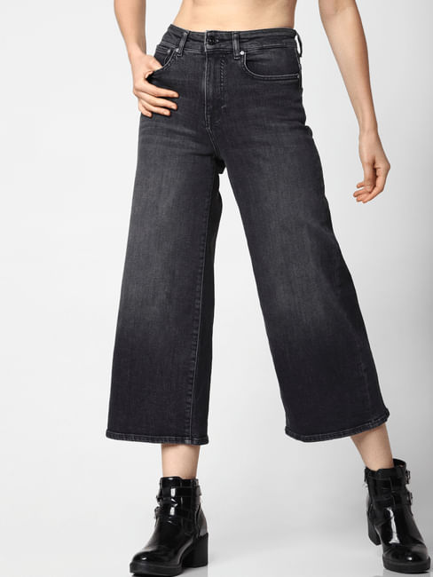 Black High Rise Washed Straight Fit Jeans