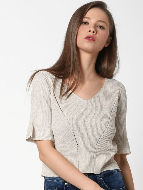 Cream Ribbed Cropped Pullover