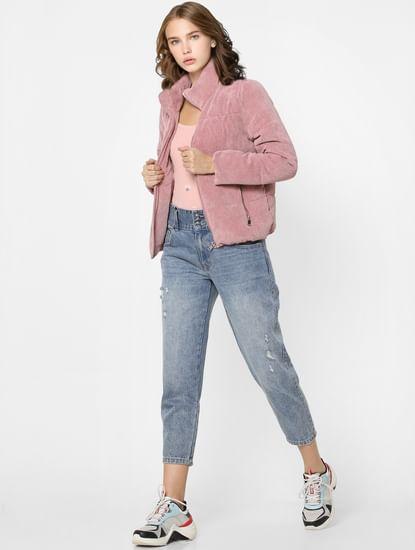 Pink High Neck Corduroy Padded Jacket