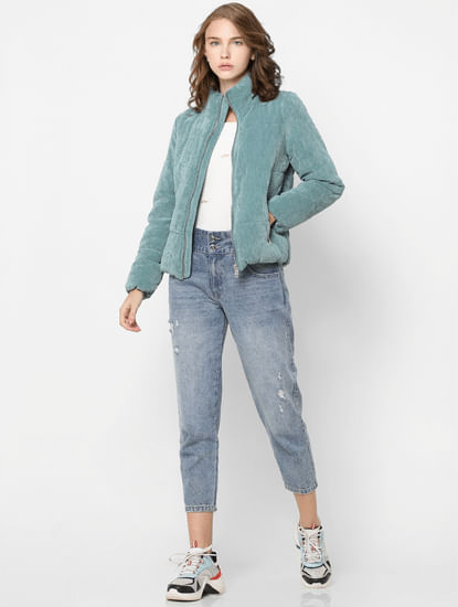 Blue High Neck Corduroy Padded Jacket