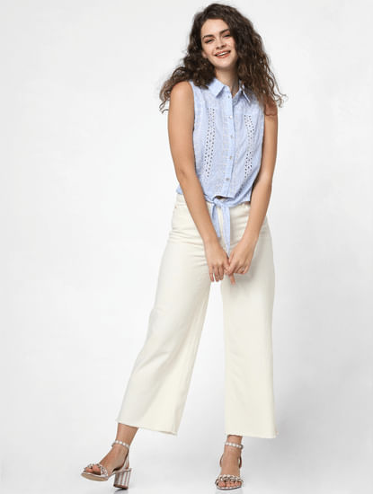 Ecru High Rise Wide Leg Jeans