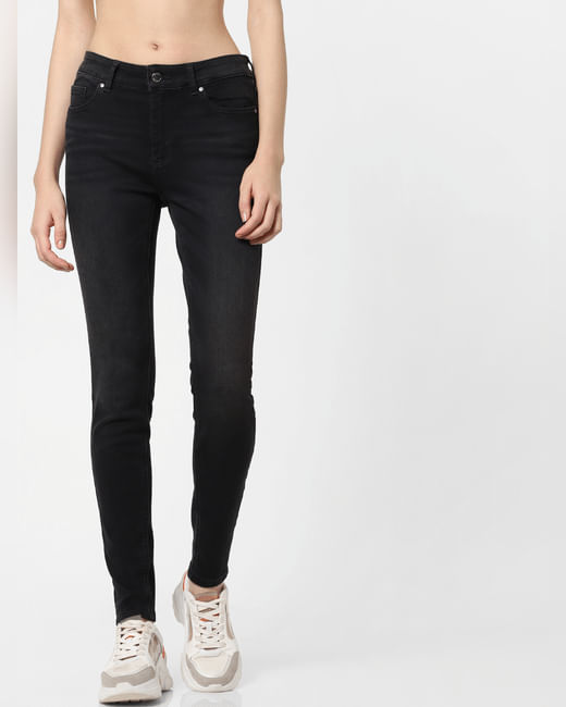 Black Mid Rise Mildly Washed Skinny Jeans