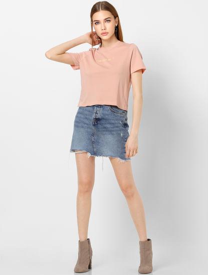 Blue High Rise Washed Mini Denim Skirt
