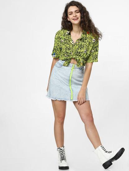 Blue High Rise Neon Zip Denim Skirt