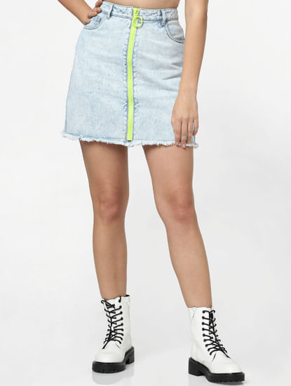 Blue High Rise Neon Zip Denim Skirt