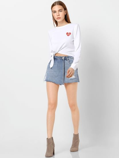 White Front Knot Sweatshirt