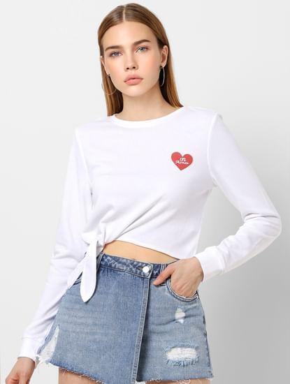 White Front Knot Sweatshirt