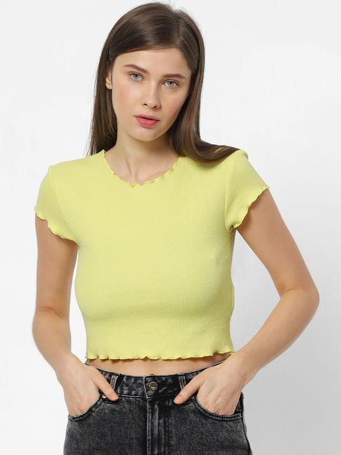 Yellow Ribbed Crop Top