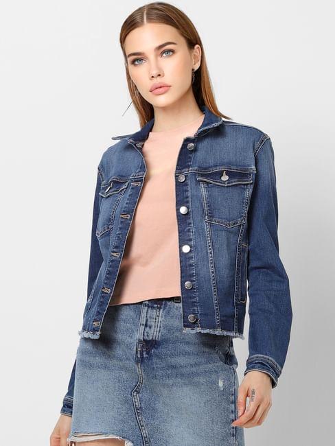 Dark Blue Raw Edge Denim Jacket