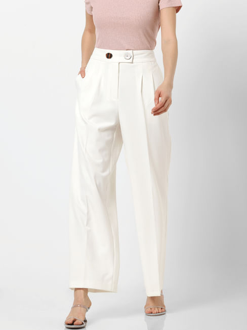 White High Rise Straight Fit Pants