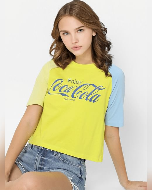 X Coca-Cola Yellow Logo Print T-shirt