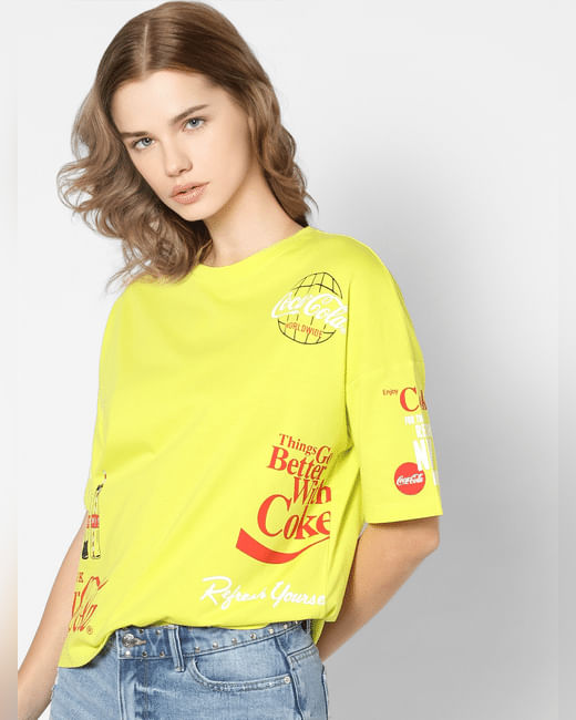 X Coca-Cola Yellow Printed T-shirt