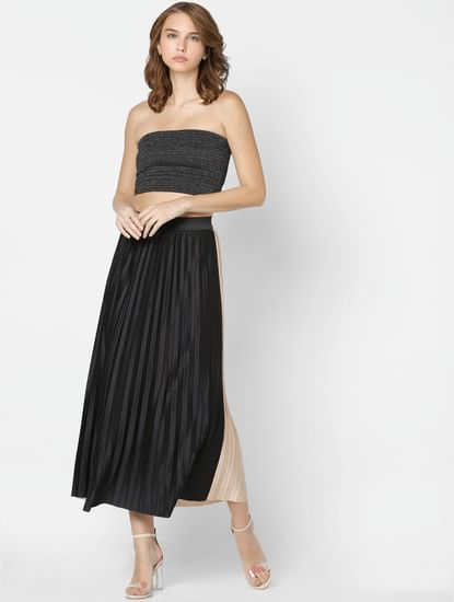 Black Two Toned Pleated Skirt