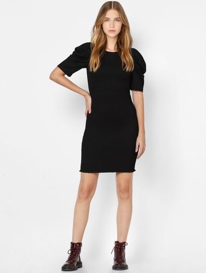 Black Smocked Jersey Bodycon Dress