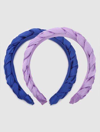 Blue & Purple Braided Headbands - Pack of 2