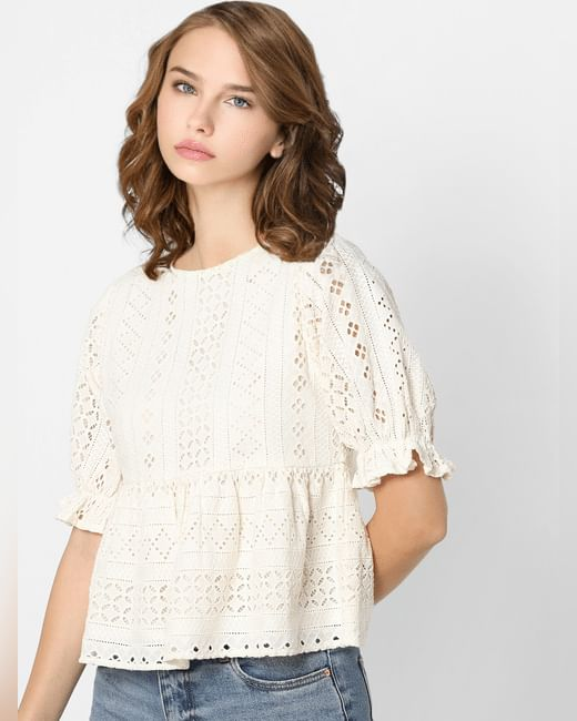 Off-White Embroidered Peplum Top