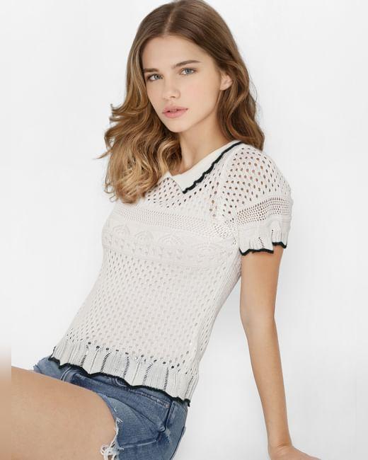 White Pointelle Knit Top