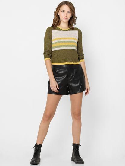 Green Colourblocked Knit Pullover