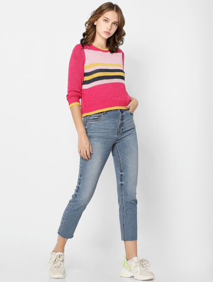 Pink Striped Knit Pullover