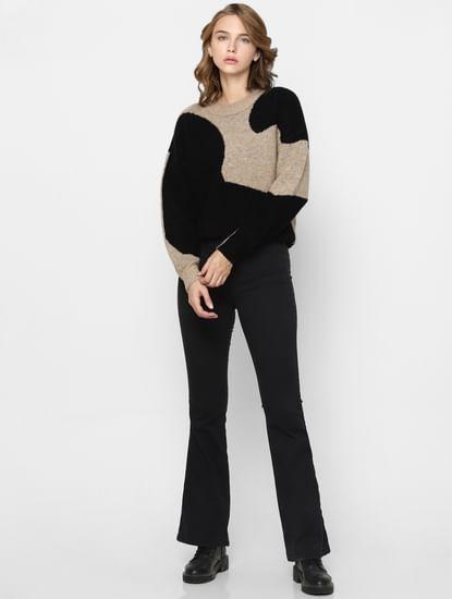 Black Colourblocked Jaquard Pullover