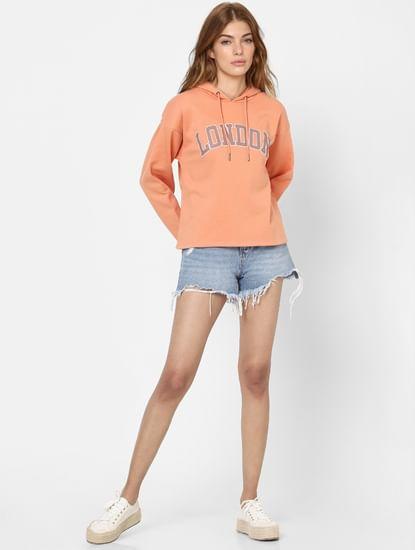 Peach Text Print Hooded Sweatshirt