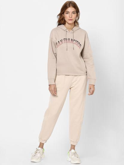Beige Text Print Hooded Sweatshirt