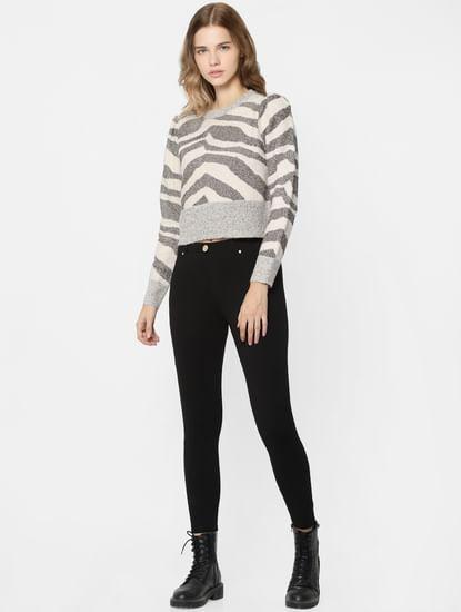 Grey Animal Print Pullover