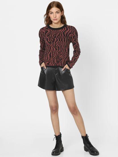Brown Animal Print Pullover
