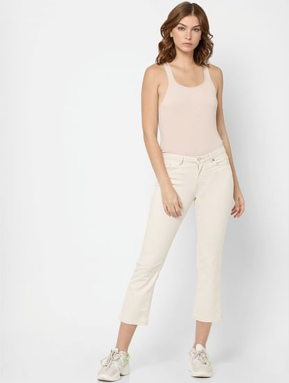 Off-White Mid Rise Flared Jeans